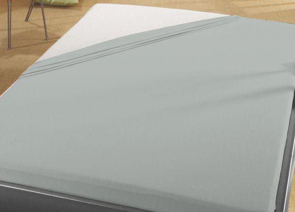 Jersey Spann Betttuch 140x200 cm  bis  160x200 cm für Matratzengröße  100% Baumwolle  platin