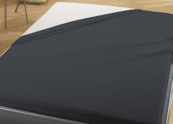 Jersey Spann Betttuch 180x200 cm  bis  200x200 cm für Matratzengröße  100% Baumwolle  schwarz