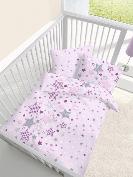 Träumschön Biber Baby Bettwäsche 100/135 cm Sterne zartrosa
