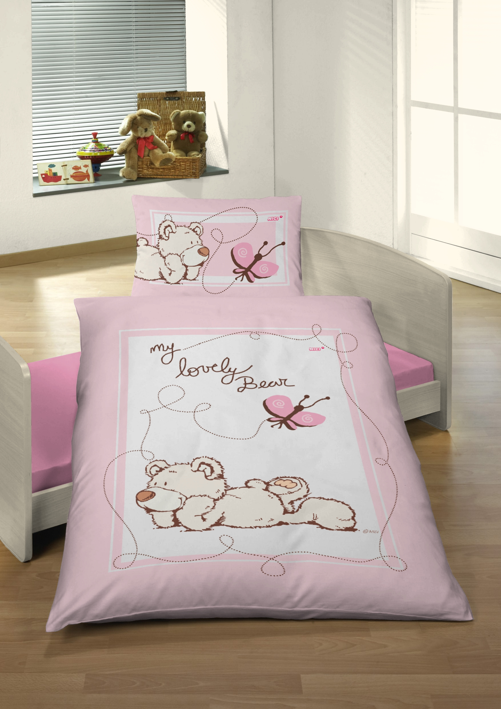 tr umsch n renforc baby bettw sche 100 135 cm nici my lovely bear rosa 100 135 baby kinder. Black Bedroom Furniture Sets. Home Design Ideas