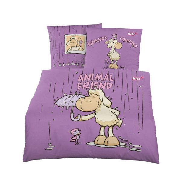 Renforcé Bettwäsche 2tlg. 135/200 cm NICI Animal Friend  100% Baumwolle