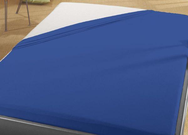 Jersey Spann Betttuch  90x200 cm bis 100x200 cm für Matratzengröße  100% Baumwolle  royal blau