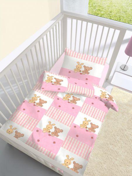 Träumschön Biber Baby Bettwäsche 100135 Cm Häschen Rosa 100135