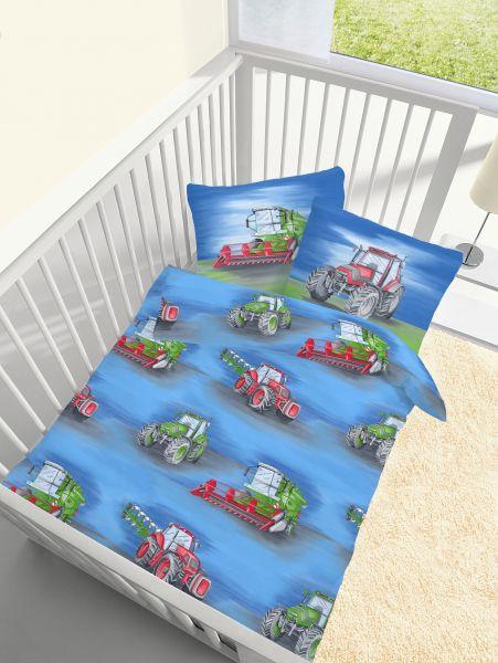 Träumschön Biber Baby Bettwäsche 100135 Cm Traktor Blau 100135